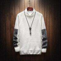 毛衣男韩版潮流圆领上衣秋季长袖拼接针织衫套头衣服休闲青年线衫