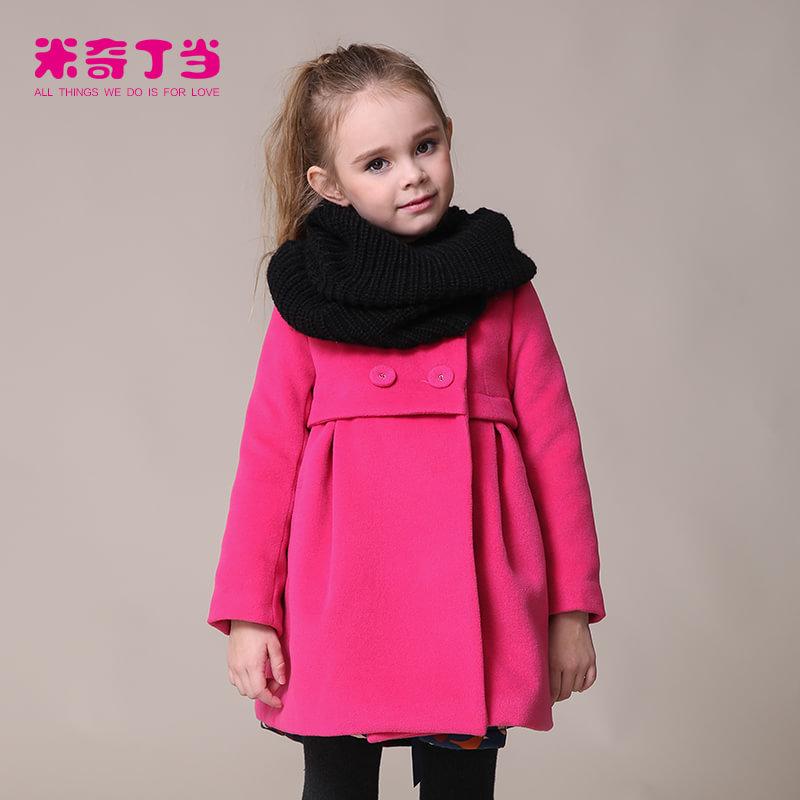 【满200减100】米奇丁当2017新款女童冬装外套童装儿童韩版经典圆领加厚呢子大衣