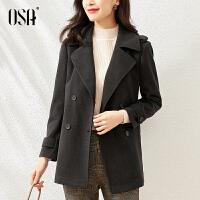 【3折折后价:339元】OSA欧莎黑色赫本风毛呢外套女春秋中长款气质收腰呢子大衣2021年新款