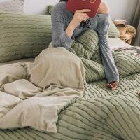秋冬款针织保暖珊瑚绒三件套加厚1.2简约被套床单床品四件套1.8m