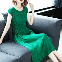 连衣裙女夏2019新款女装名媛气质温柔风收腰中长款秋冬季打底裙子 绿色