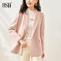 【3折折后价:299元】OSA欧莎粉色毛呢外套女中长款显瘦气质小个子呢子大衣春秋2021年新款