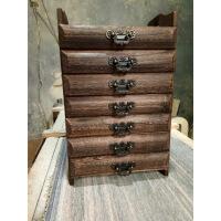 实木普洱茶盒茶具收纳盒茶饼柜茶叶包装木盒子烧桐木多层分茶盘