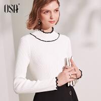 【2件3折价:111.3】欧莎白色半高领针织衫薄款秋季女2019新款长袖打底衫套头百搭毛衣