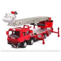 -凯迪威合金工程车模型1:50水罐云梯登高消防车玩具汽车火警救火车