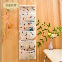 布艺收纳挂袋可爱墙上挂式门后多层整理壁挂棉麻布挂兜收纳袋包SN9887 68*20cm