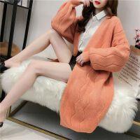 秋冬季针织衫开衫外套韩版宽松大码毛衣女笼袖中长款外套女