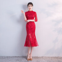 敬酒服新娘2018新款夏季红色旗袍结婚回门中式礼服鱼尾裙女中长款
