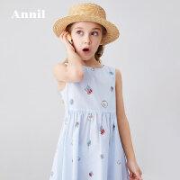 安奈儿童装女童连衣裙无袖2020夏季新款大童洋气海洋元素印花裙子1