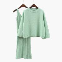韩版宽松毛衣套装女时尚两件套裙子2018春秋季纯色学生套头针织衫 均码