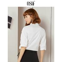 【限时秒杀价:149/叠券价:104.3】OSA欧莎2019夏装新款韩版设计感小众拼接蕾丝短袖白色衬衫女