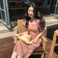 2019流行夏天裙子小清新女装学生格子长裙新款法式桔梗夏季连衣裙 红格