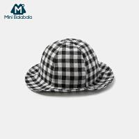 【每满299元减100元】迷你巴拉巴拉儿童帽子遮阳帽男女宝宝格子渔夫帽2019秋季婴儿帽子