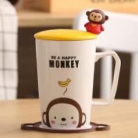 创意可爱杯子陶瓷杯马克杯卡通情侣杯牛奶杯咖啡杯茶杯水杯带盖勺陶瓷马克杯家居家用