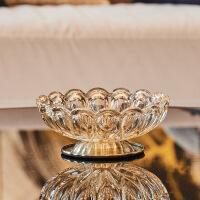 创意欧式玻璃奢华水果盘三件套装美式家用客厅茶几实用摆件装饰品