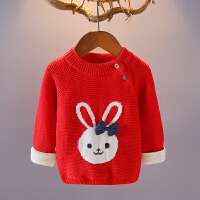 儿童毛衣加绒加厚女童秋冬款宝宝针织打底衫套头圆领婴儿毛线外套