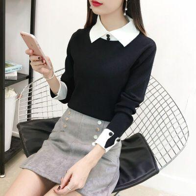 娃娃领套头毛衣女2019秋冬装韩版学生短款修身长袖针织打底衫  均码