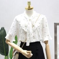 2018夏韩版宽松显瘦圆点衬衫女白色雪纺短袖上衣荷叶边喇叭袖衬衣 白色