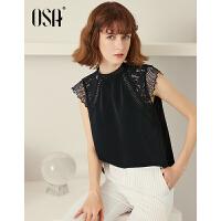 【3件6.5折】OSA欧莎2019夏装新款 优雅花边小立领镂空蕾丝拼接雪纺衫