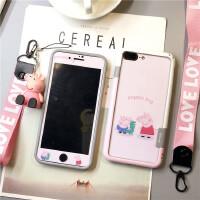 小猪佩奇苹果X手机壳IPHONE7PLUS钢化膜可爱6S女款彩膜8潮流硅胶 6/6s4.7寸佩奇乔治