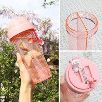 创意水杯 一杯双饮网红创意个性潮流少女心水杯学生两用分隔韩版吸管杯子