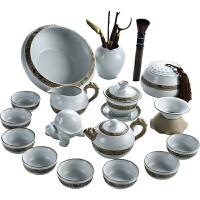 功夫茶具套装家用中式简约汝窑釉开片陶瓷泡茶壶盖碗茶杯