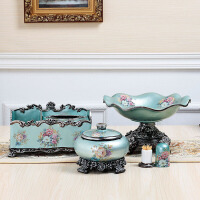 复古欧式水果盘三件套创意树脂客厅茶几饰品摆件纸巾盒果盘套装
