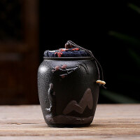 哥�G茶�~罐陶瓷密封罐茶罐小�普洱�b茶�~盒便�y存茶罐紫砂