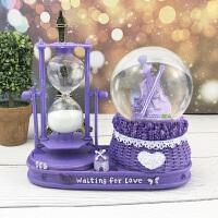 生日礼物女生水晶球沙漏 复古发光埃菲尔铁塔摆件沙漏水晶球送男女生生日礼物儿童闺蜜礼盒
