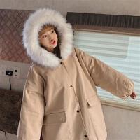加厚工装外套女2019中长款冬季韩版bf宽松大毛领棉衣学生 均码