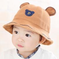 宝宝太阳帽女1-2-3岁男童渔夫帽韩版可爱小熊秋冬盆帽婴儿遮阳帽