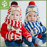 韩版儿童帽子围巾手套三件套套装男童女童新款儿童帽子围脖潮