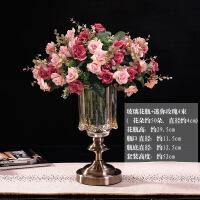 北欧玻璃花瓶摆件美式样板间客厅插花装饰品简约欧式餐桌花艺摆设