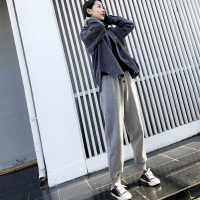 秋冬加绒运动裤女学生韩版宽松bf风系带小脚大码纯色显瘦加厚卫裤