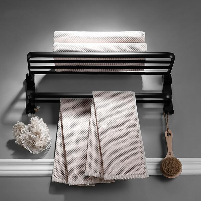 北欧毛巾架浴巾架黑色欧式浴室可免打孔置物架卫浴挂件套装 折叠款浴巾架 打孔安装