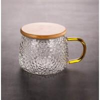 锤纹玻璃杯家用茶水分离杯泡茶杯透明大容量带把带盖办公耐热杯子
