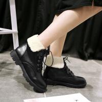 彼艾2017秋冬加绒平底平跟系带短靴潮短筒学生靴棉鞋雪地靴女靴子