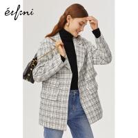 伊芙丽西服女新款韩版宽松气质英伦风格子西装外套女1A9910571