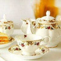 欧式茶具套装下午茶茶具咖啡具骨瓷咖啡杯套装英式红茶杯陶瓷家用乔迁新居装饰品开业送人摆件礼物 21头皇室贵族 21件