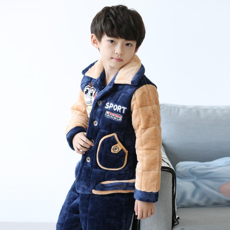 儿童厚款睡衣男冬季夹棉厚三层男孩卡通珊瑚绒冬天男童绒家居服