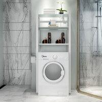 马桶置物架滚筒洗衣机置物架阳台卫生间多功能储物架浴室收纳落地 三层洗衣机 白架+白色钢化玻璃