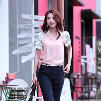 短袖雪纺衬衫女夏季韩版宽松蕾丝拼接雪纺衫显瘦百搭打底上衣衬衣
