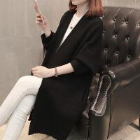 大码女装胖mm200斤宽松毛衣长袖V领外套中长款针织衫秋冬季 L 80-100斤