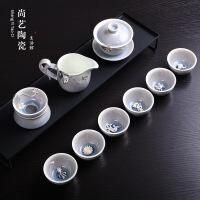 景德镇镶银创意茶具办公陶瓷整套功夫窑变月光茶壶公道茶杯套装 月光盖碗整套镶银茶具