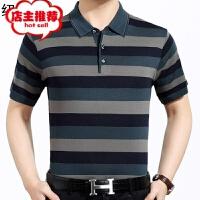 爸爸短袖t恤男夏季中年男士夏装翻领针织衫薄款中老年人冰丝体��