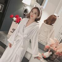 法兰绒睡袍女冬韩版加厚保暖加长款白色带帽珊瑚绒浴袍睡衣女秋冬