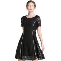 时尚品牌法国小众连衣裙大码2019夏装新款女装洋气胖mm蕾丝拼接遮肚A字裙SN9346 黑色