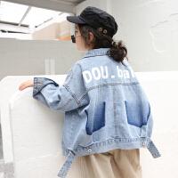 女童牛仔外套2019春季新款韩版儿童休闲宽松开衫夹克上衣洋气潮 蓝色 150预售至3.8 5/100(偏大建议身高10