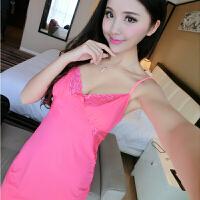 性感睡衣女情趣内衣诱惑秋冬蕾丝冰丝吊带睡裙薄款两件套中裙 9112粉红色 160(M) 2层