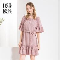 【2.5折到手价:66】欧莎ins超火的一字肩性感格子复古连衣裙女夏2019新款显瘦裙子